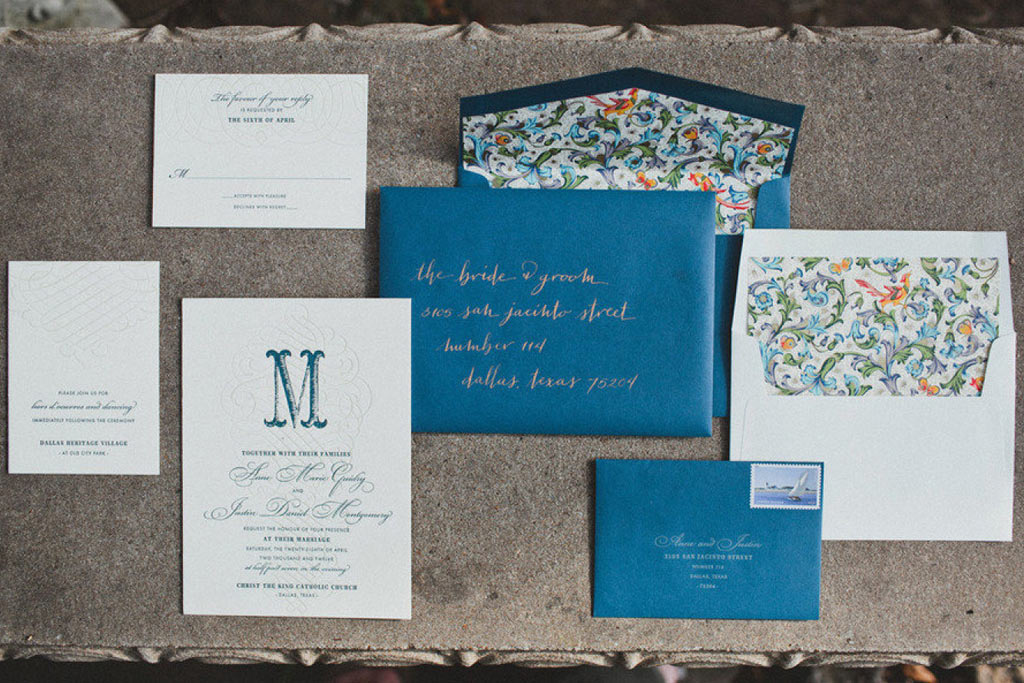 Dallas Letterpress Blue and Gold Wedding Stationery