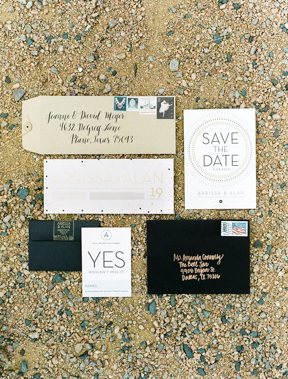 White, gold, and black wedding invitation suite by Chips and Salsa Design