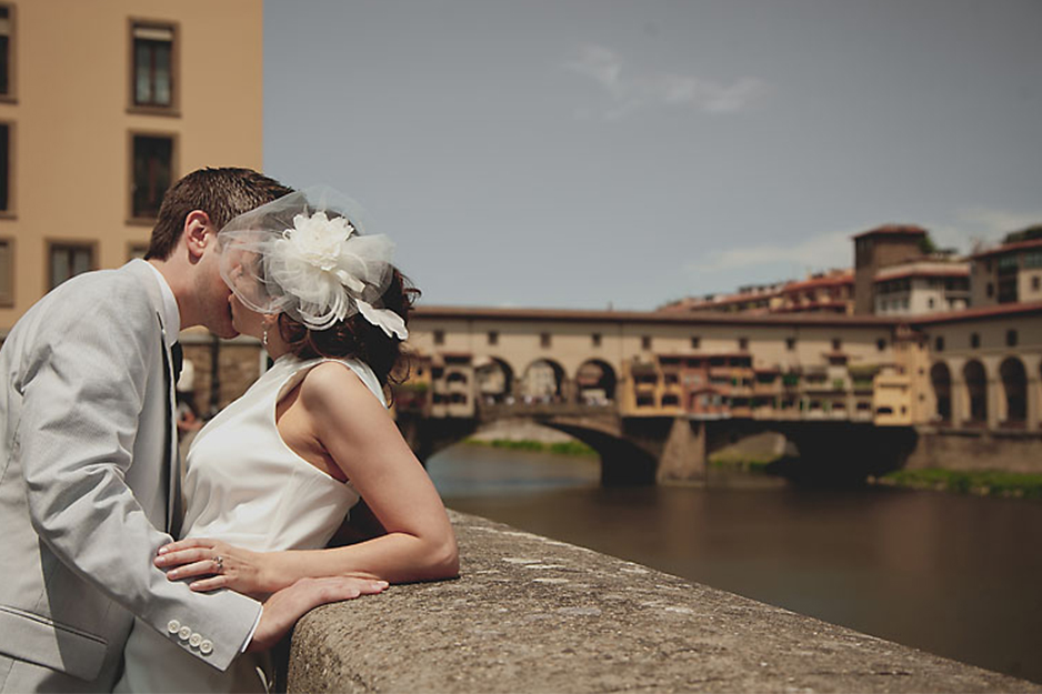 Bride and Groom Portrait Overlooking Ponte Vecchio Florence Italy