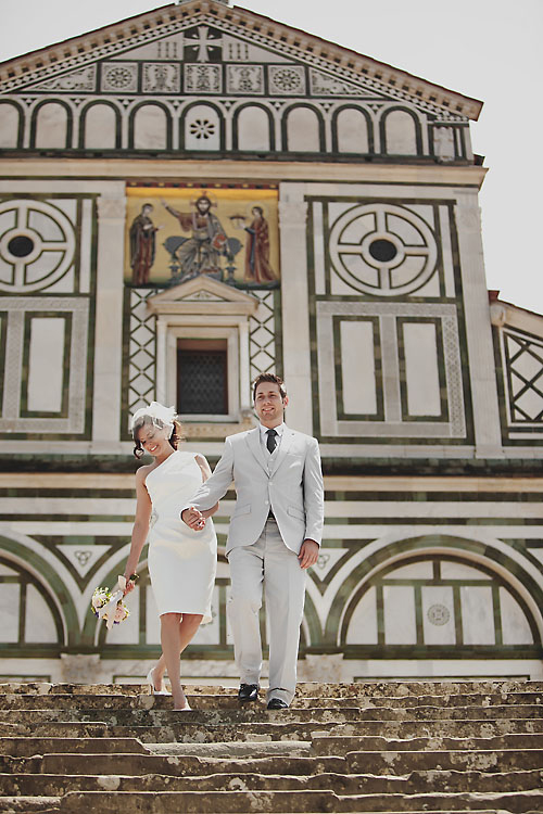 Bride and groom wedding day portrait at Santa Croce in Florence Italy
