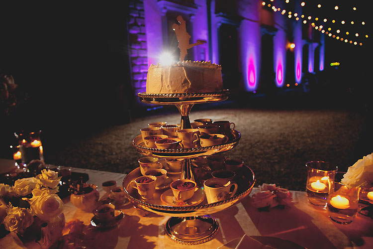 Dessert and coffee setup at Castello Vicchiomaggio Italy Destination Wedding