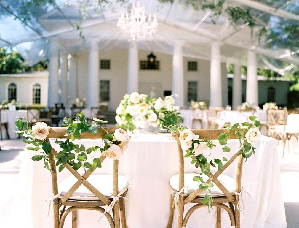 Cross back chairs for sweetheart wedding reception table