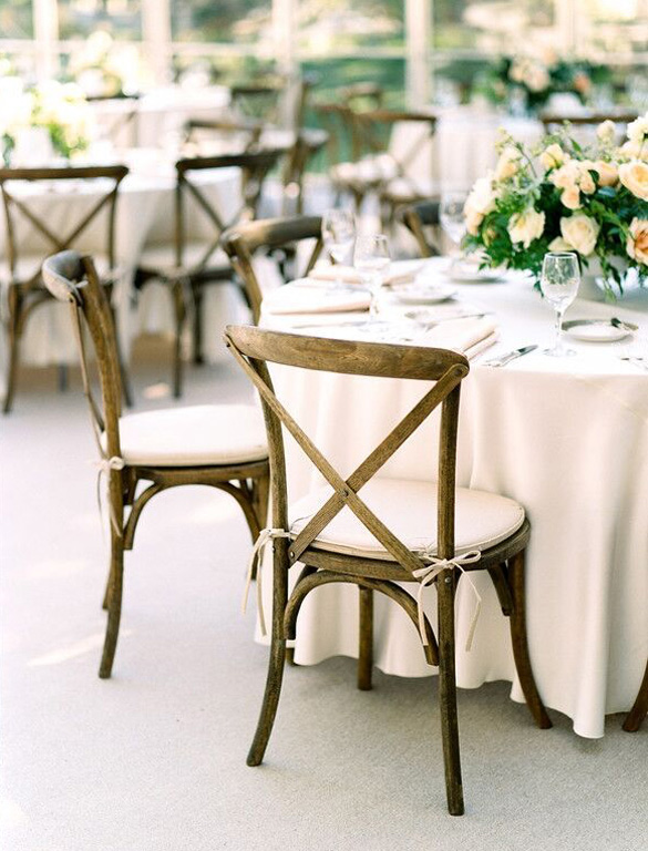 Cross back chairs for tented Arlington Hall wedding reception