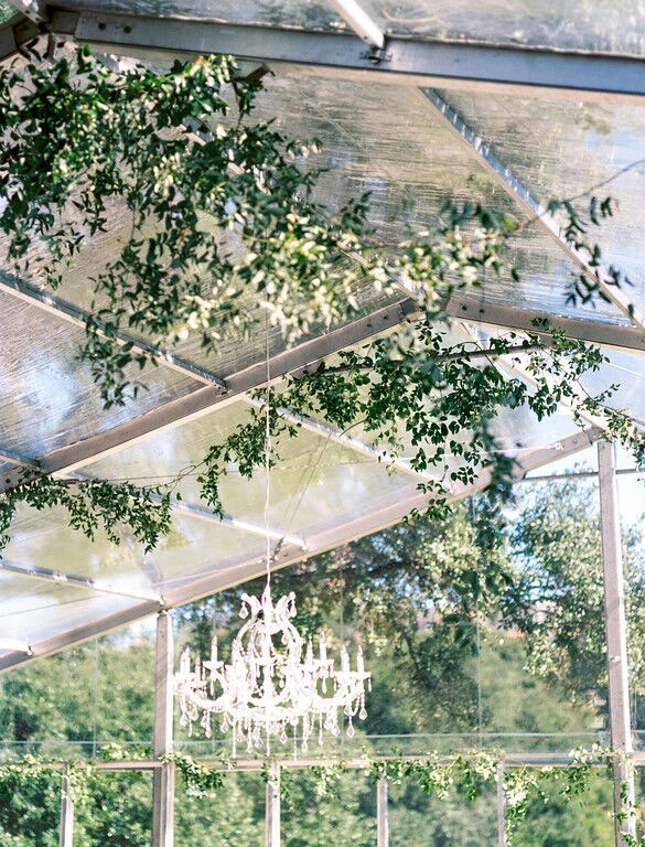Greenery and chandelier hanging from clear tent