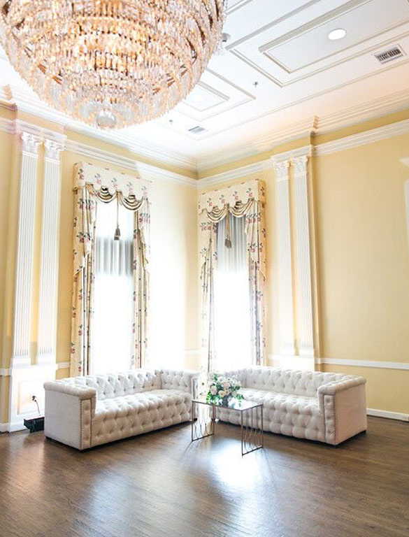 Bella Acento tufted sofa lunge seating at Arlington Hall