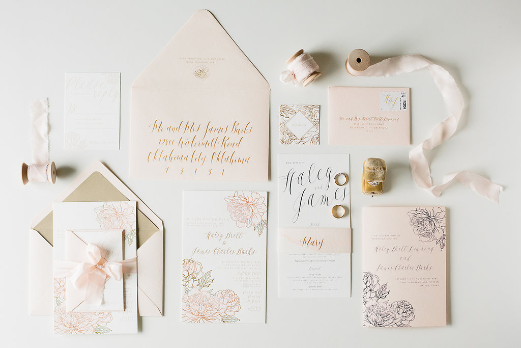 Blush and gold floral styled wedding invitation suite with calligraphy by Blue Eye Brown Eye