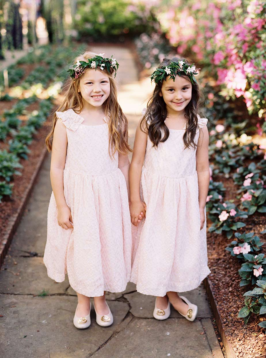 Flower girls with floral crowns at The Dallas Arboretum