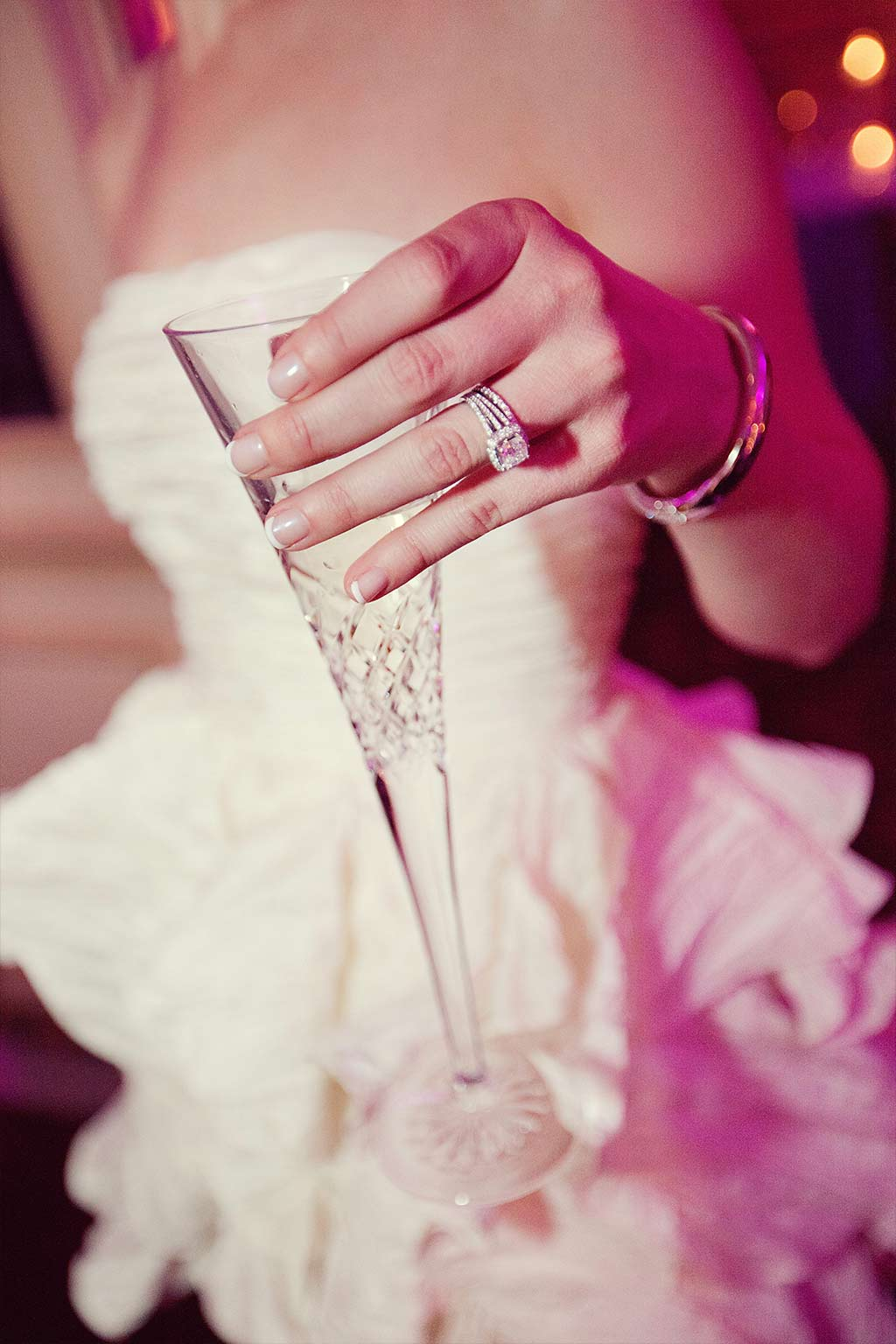 bride with champagne flute