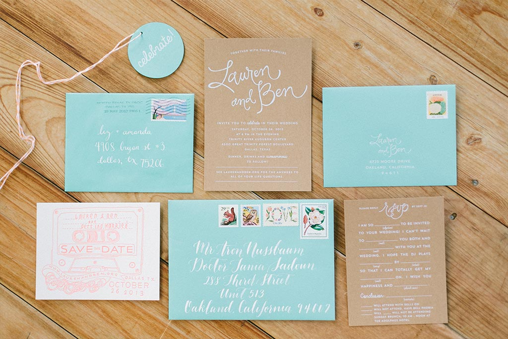 Craft paper and teal wedding invitation suite by Blue Eye Brown Eye