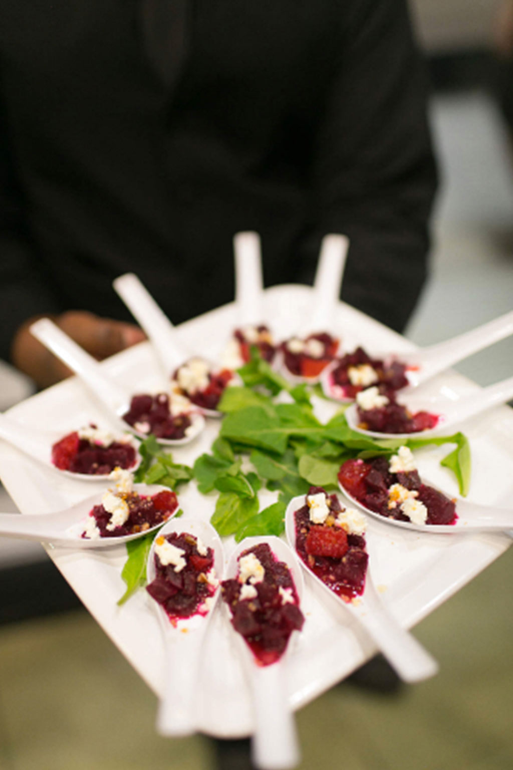 Beet spoon wedding reception hors d'oeuvres by Bolsa Catering