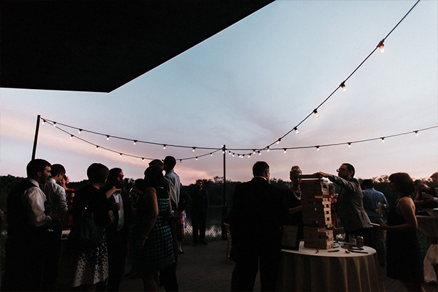 Outdoor cafe lights at a wedding reception at the Trinity River Audubon Center in Dallas