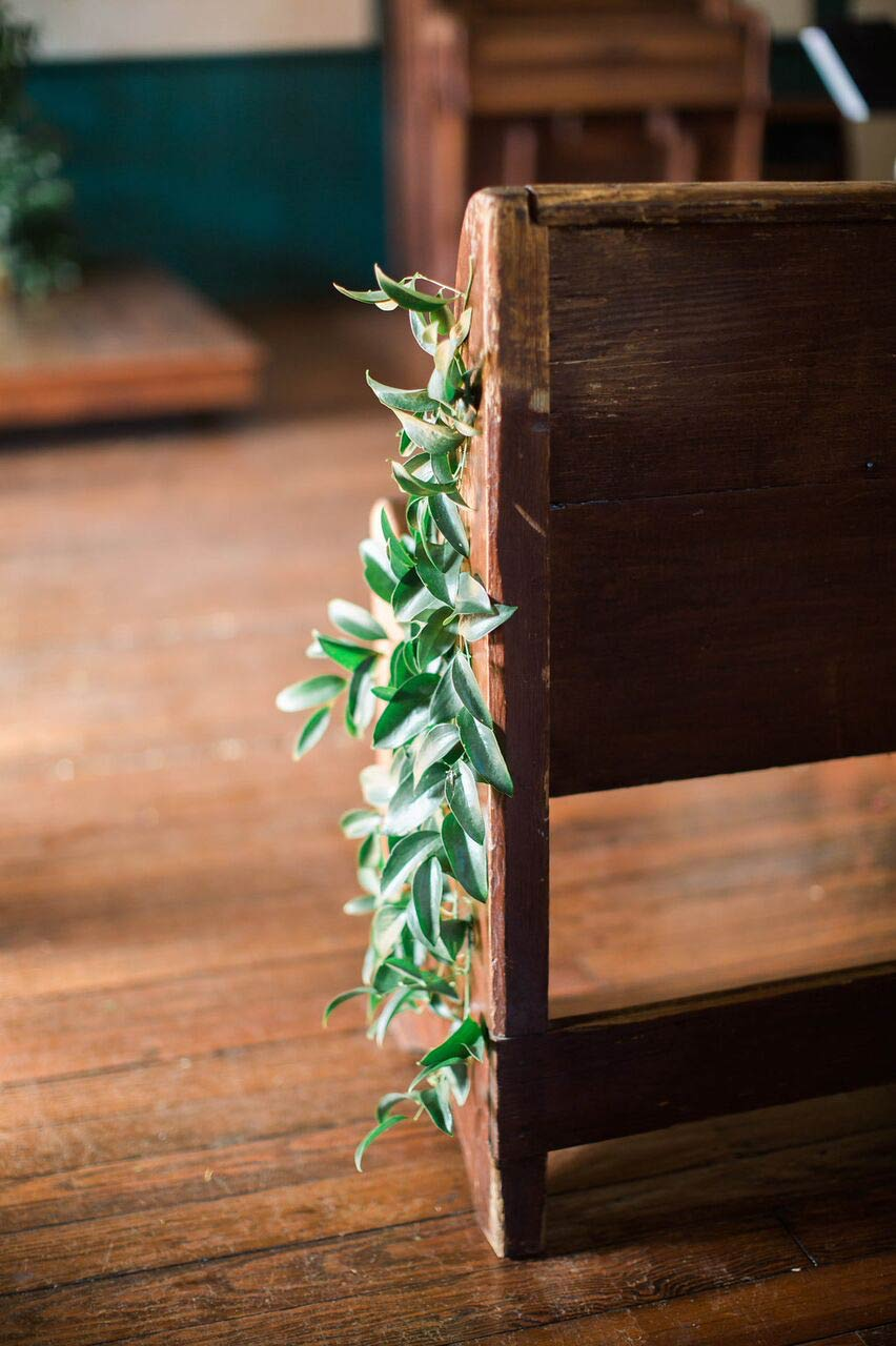 Greenery wedding ceremony pew markers