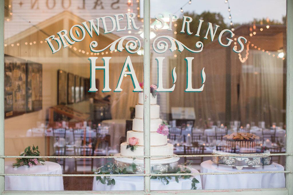 Bowder Springs Hall window sign and weding cake at Dallas Heritage Village