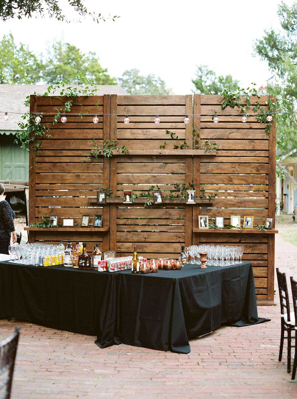 Wood slat wedding bar back with shelves