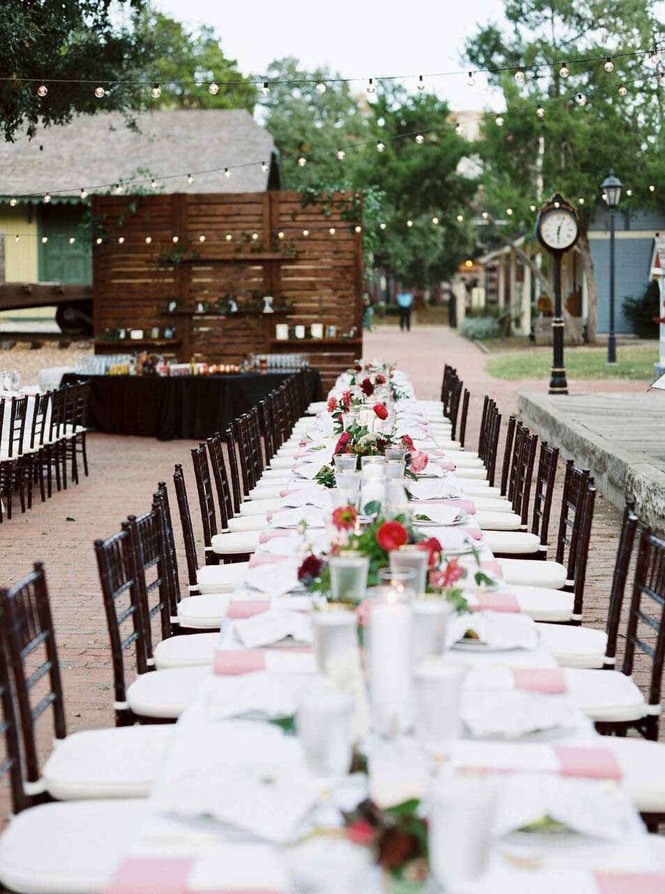 Dallas Heritage Village wedding reception long family tables
