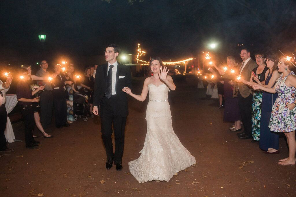 Wedding sparkler exit at Dallas Heritage Village Main Street