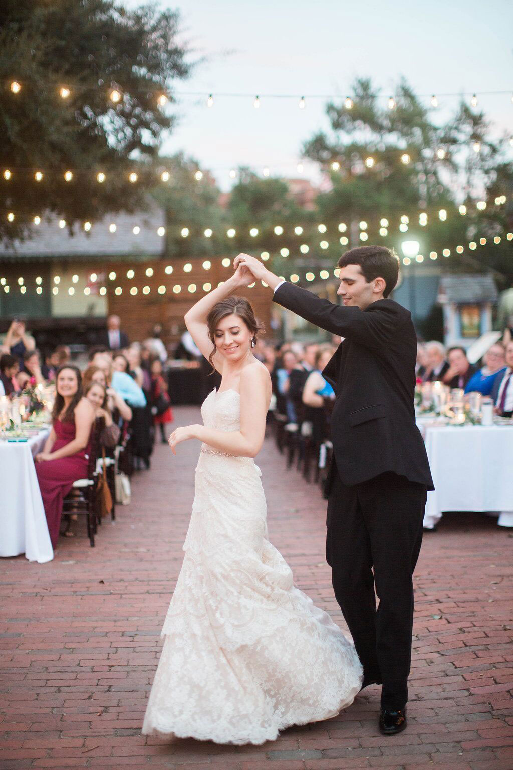 Bride and groom first dance at Dallas Heritage Village Main Street