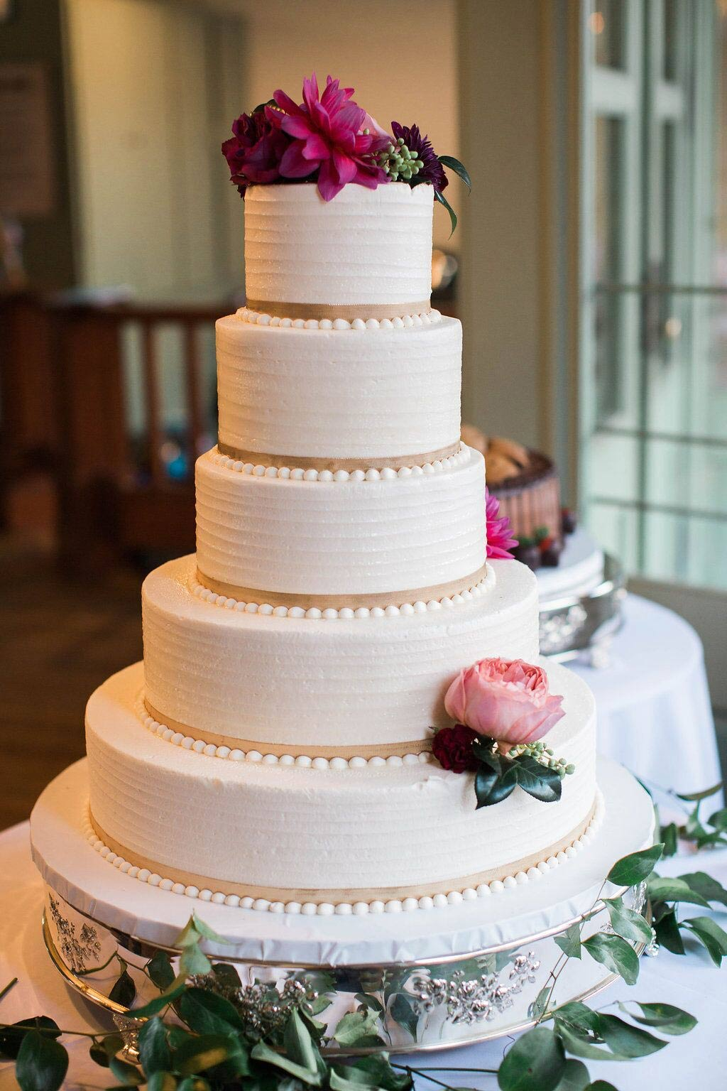 5 tier round buttercream wedding cake
