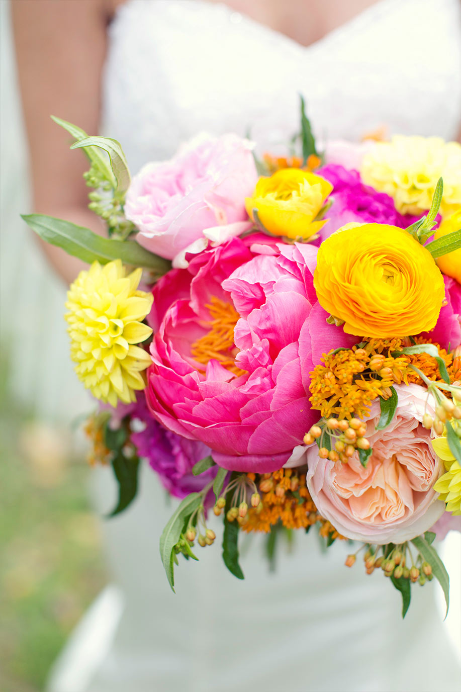 Pink and yellow bridal bouquet