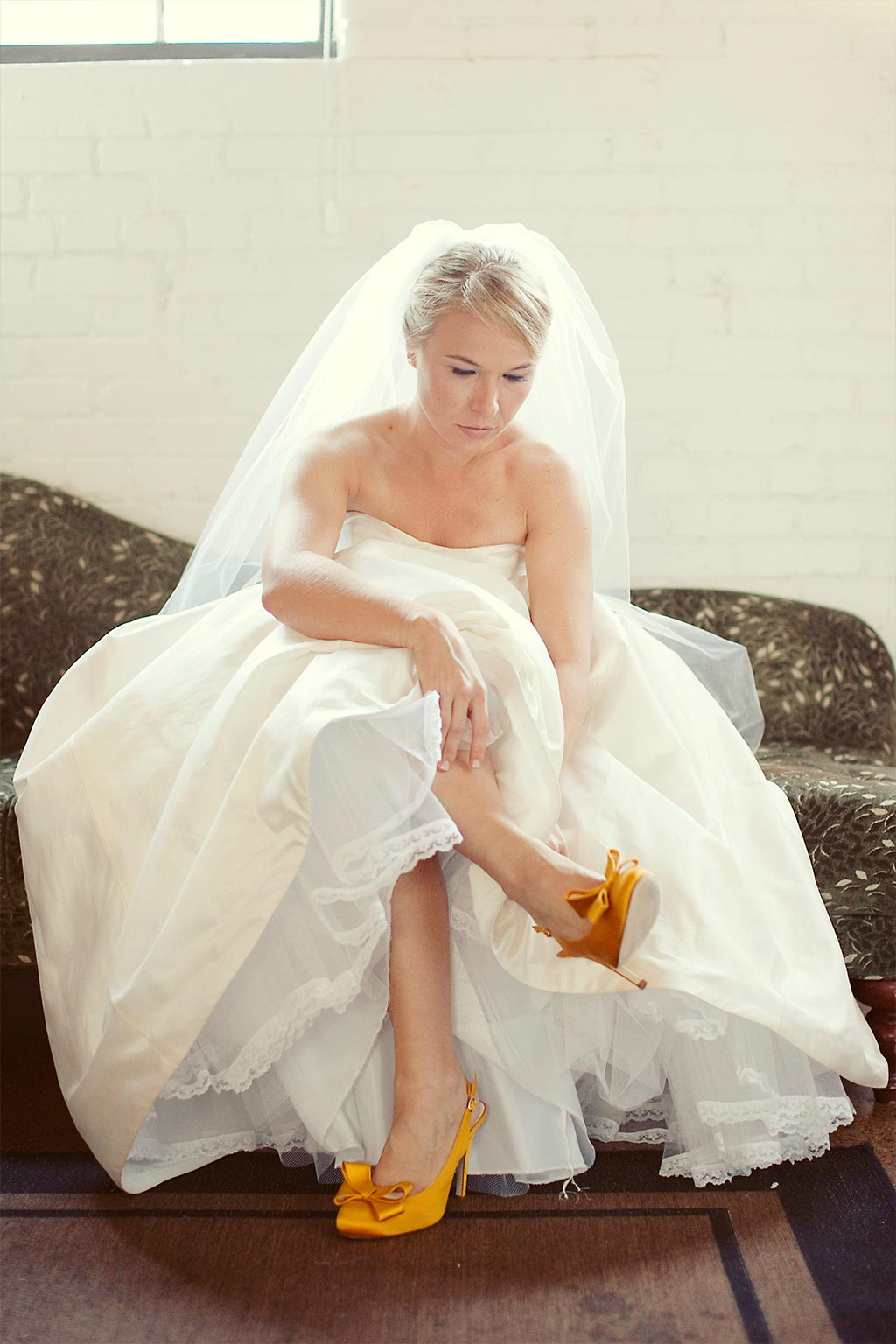 Bride getting ready with Yellow BHLDN shoes