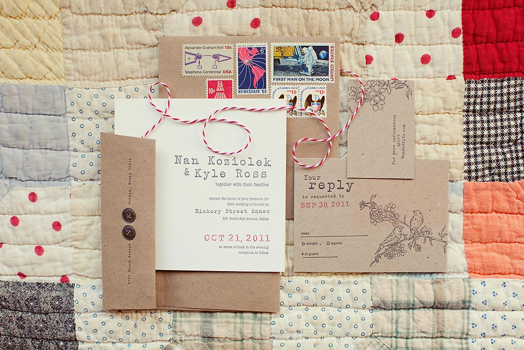 Craft paper typewriter letterpress wedding invitation suite with red bakers twine