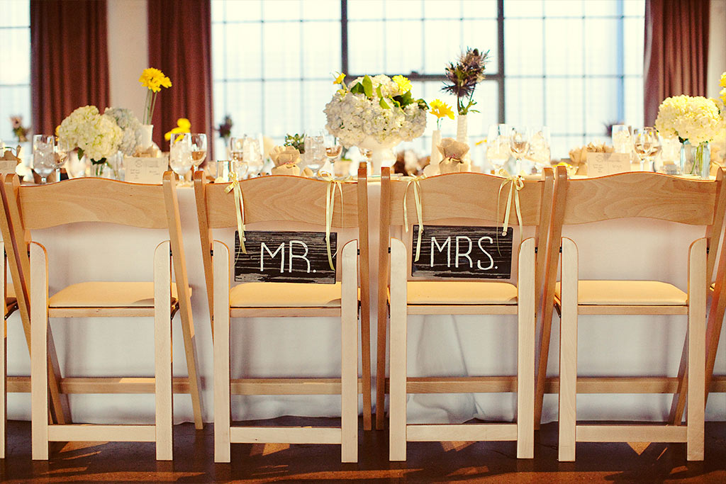 Mrs and Mr handpainted seat signs