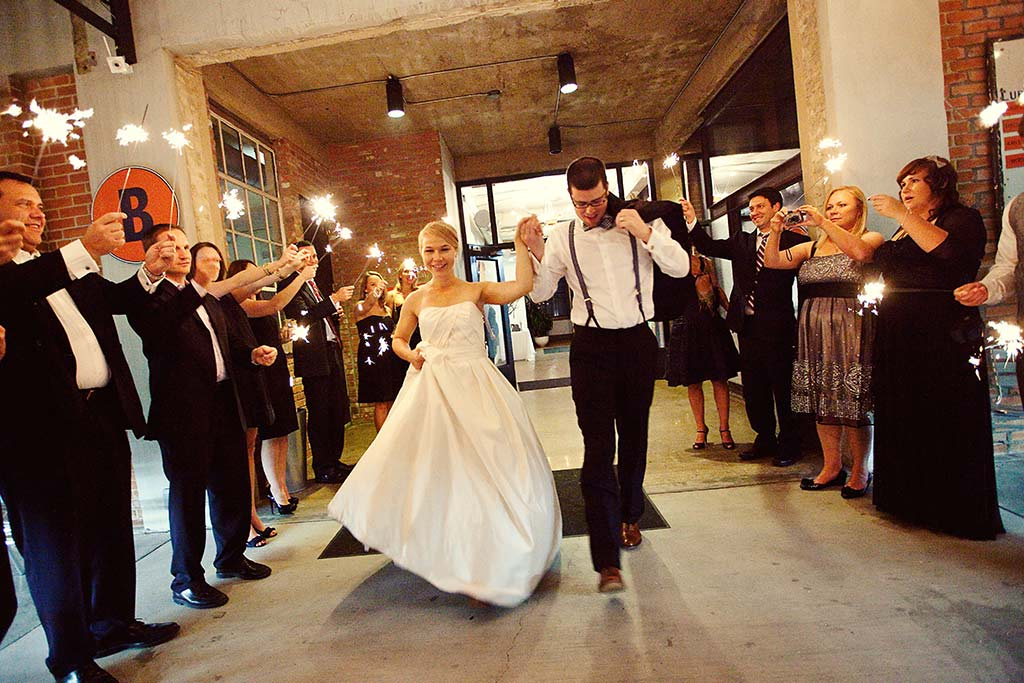 wedding sparkler grand exit from Hickory Street Annex in Dallas