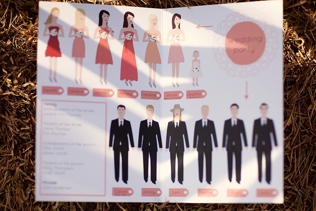 illustrated program of groomsmen and bridesmaids