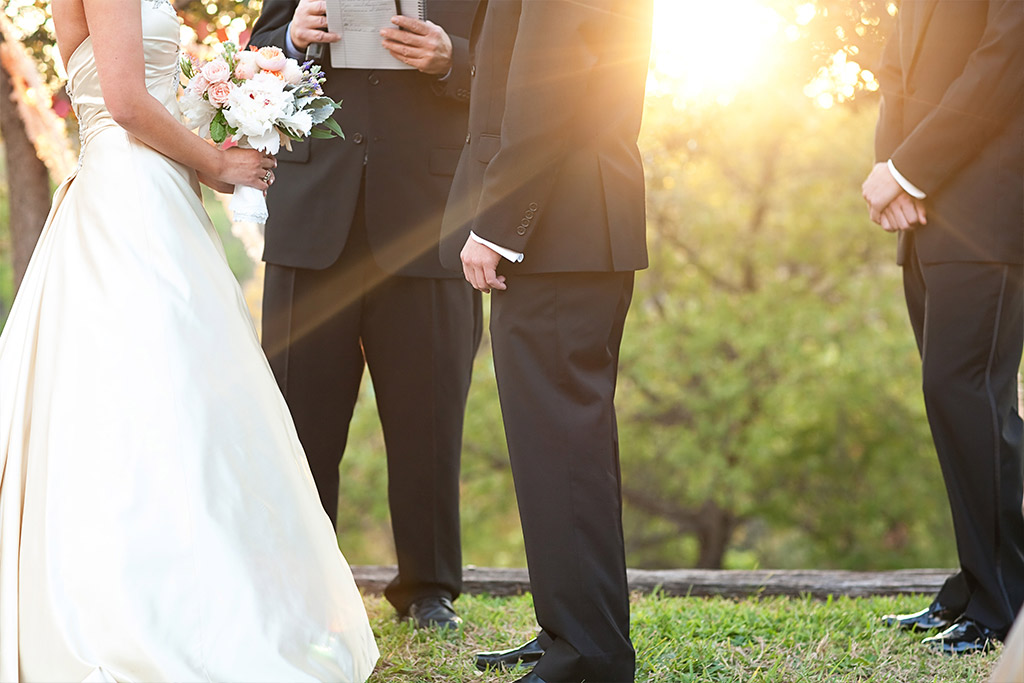 sunset farm wedding ceremony