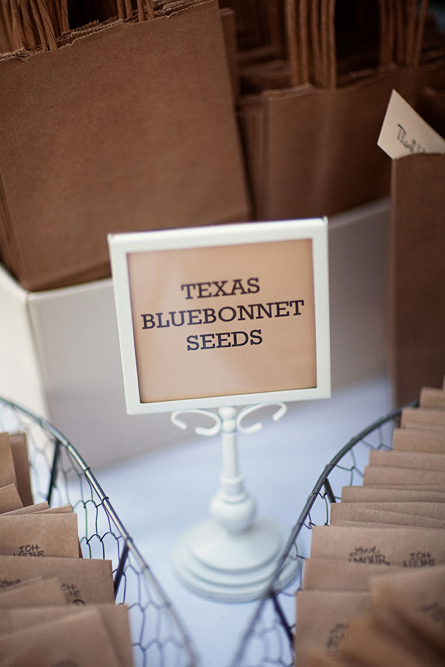 Texas Bluebonnet Seed sign and wedding favors