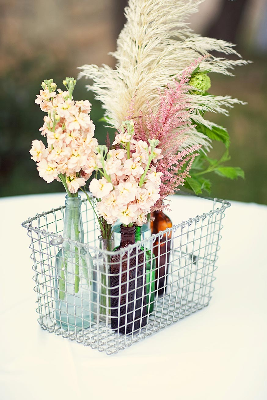 wedding centerpiece collection in antique glass and wire crate