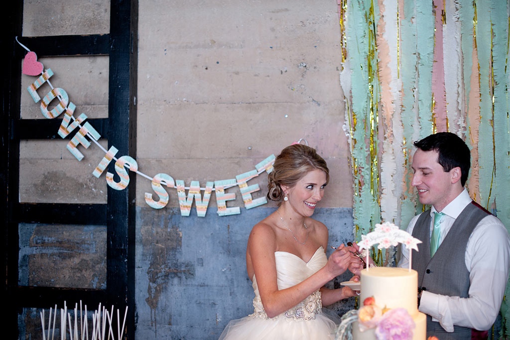 Bride and Grrom Cake Cutting Streamer Backdrop Hickory Street Annex