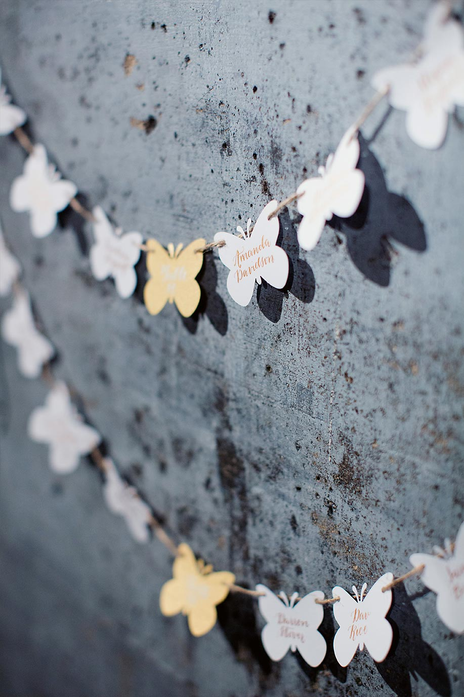 Diecut butterfly wedding escort cards