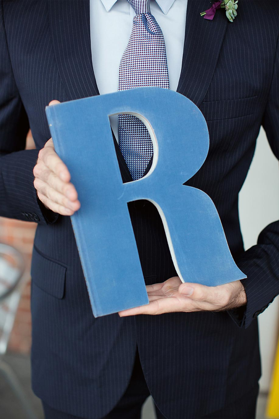 Book letter R monogram cutout